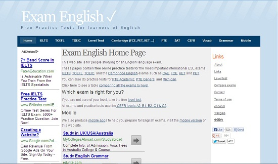 This web site is for people studying for an English language exam.