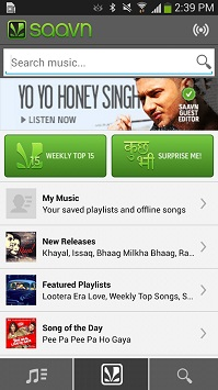 Saavn Android App to Listen Free Indian Music