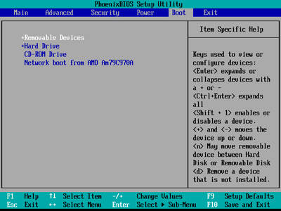 change boot order like cd, dvd, floopy disk, hard disk drive