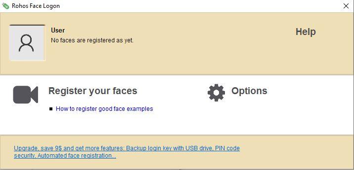 Rohos face logon - register your face