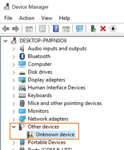 driver error in the Device Manager when hdd not detected