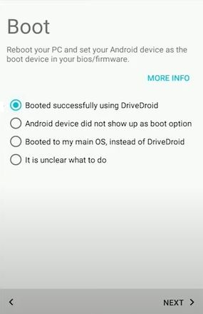 DriveDroid: Bootes successfully