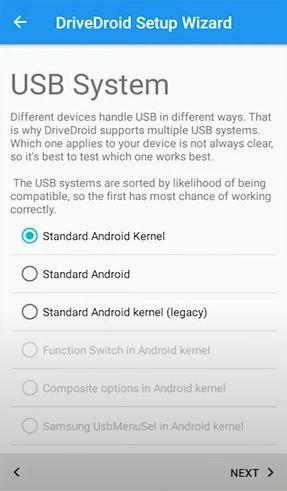 DriveDroid: choose USB system