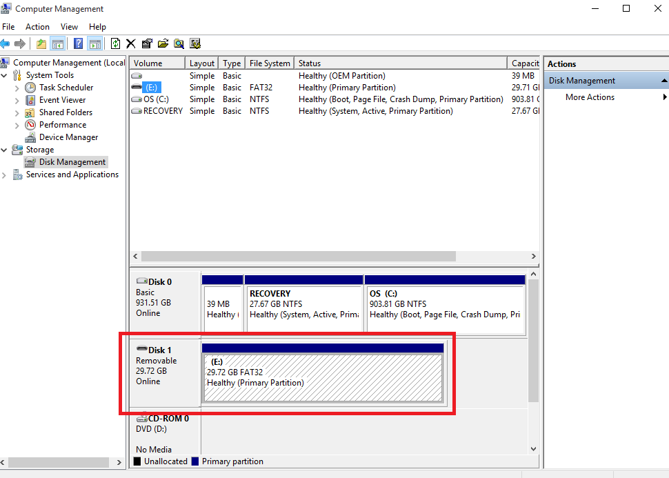 removable drive in windows disk manager