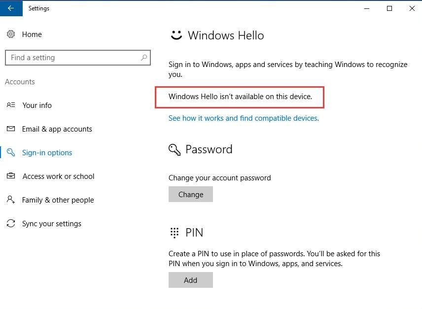 Facial recognition: windows hello is not available on this device